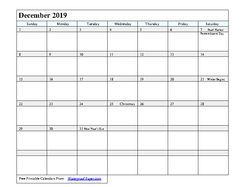 December 2019 Calendar 3