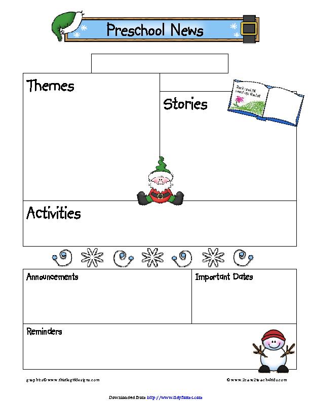 December Preschool Newsletter Template