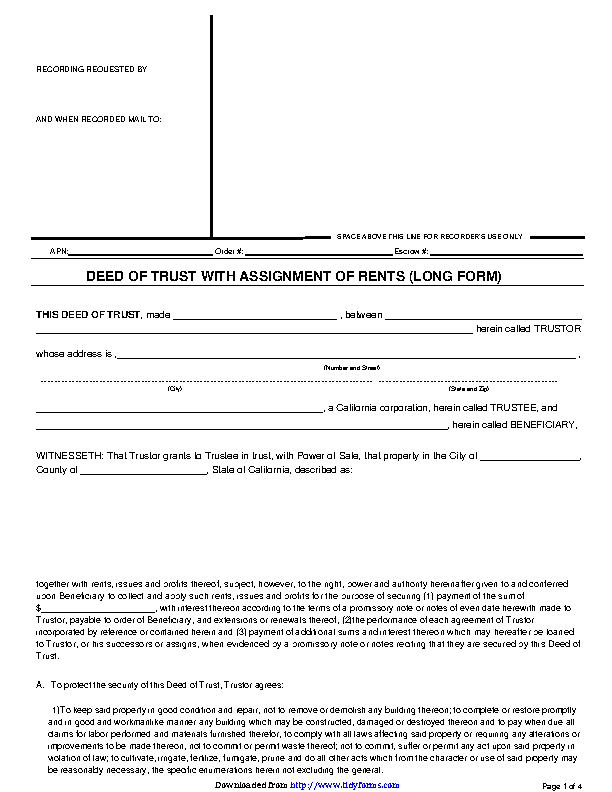 Deed Of Trust With Assignment Of Rents Long Form