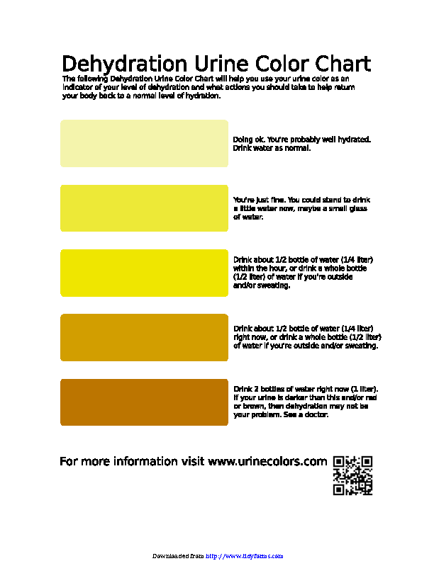 Fill Out Your Dehydration Urine Color Chart In Seconds With Pdfsimpli