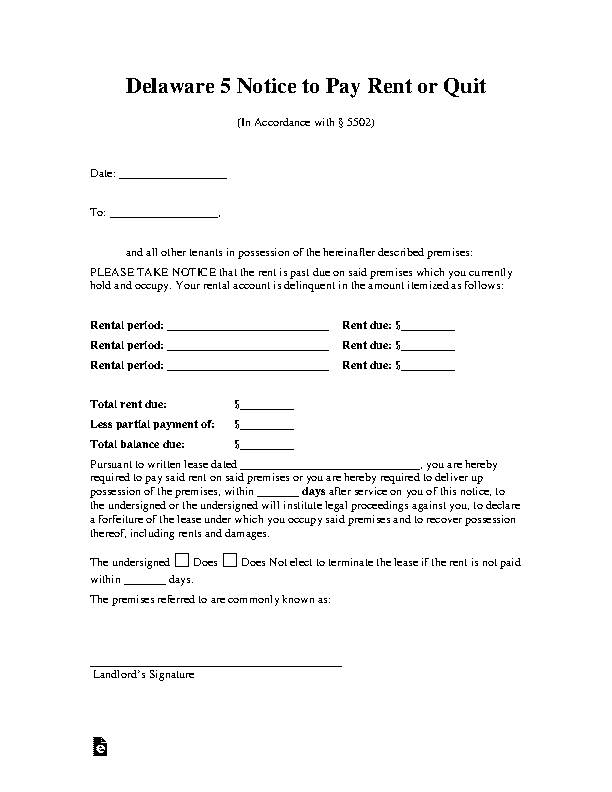 Delaware 5 Day Notice To Pay Rent Or Quit