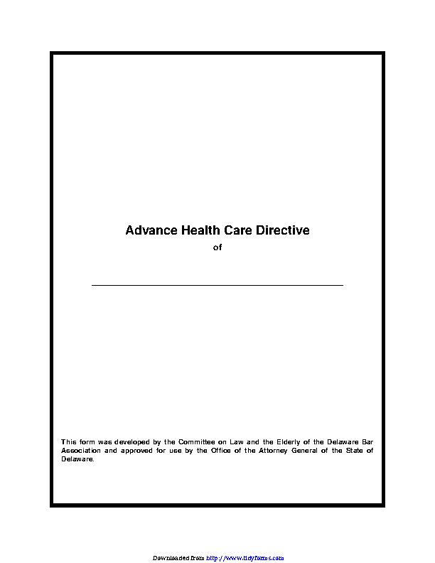 Delaware Advance Health Care Directive Form 2
