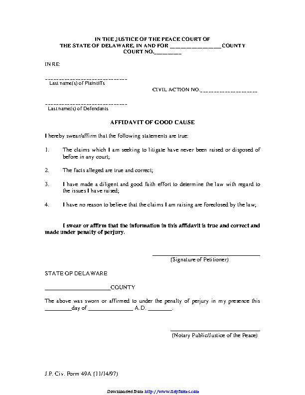 Delaware Affidavit Of Good Cause Form