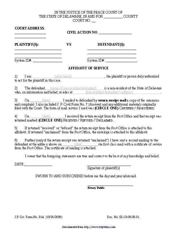 Delaware Affidavit Of Service Form