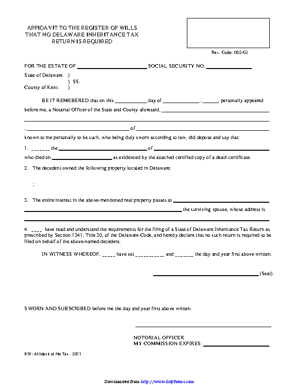 Delaware Affidavit To The Register Of Wills That No Inheritance Tax Return Is Required Form
