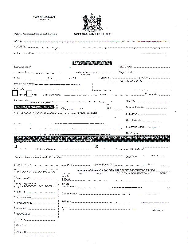 Delaware Application For Title Mv212