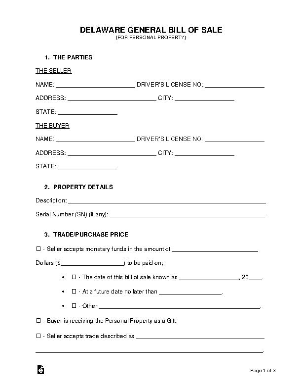 Delaware General Personal Property Bill Of Sale