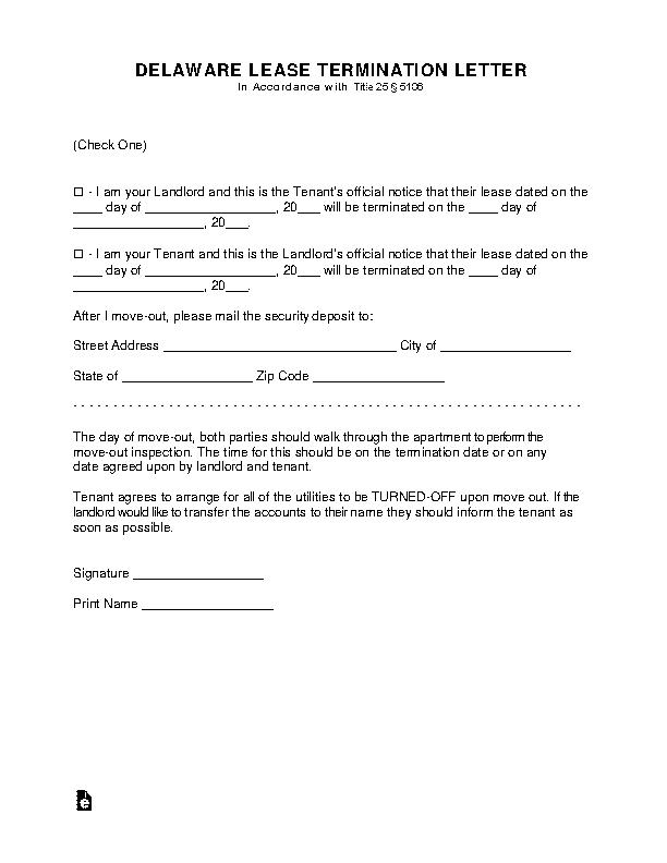 Delaware Lease Termination Letter