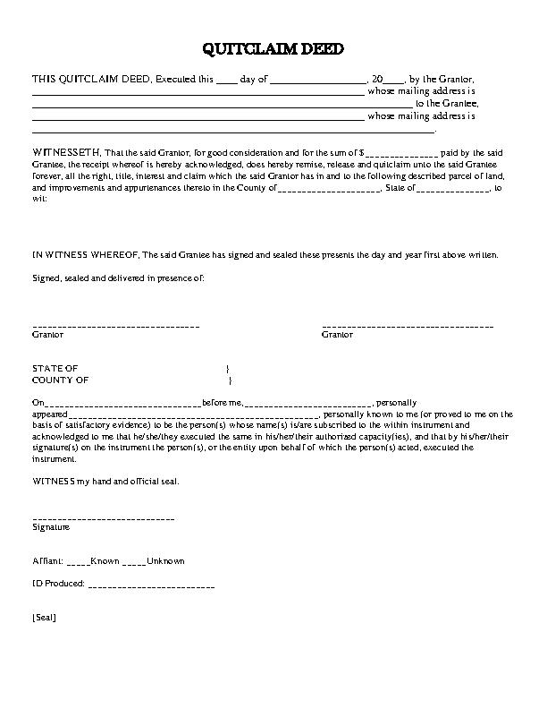 Delaware Quitclaim Deed Form 1