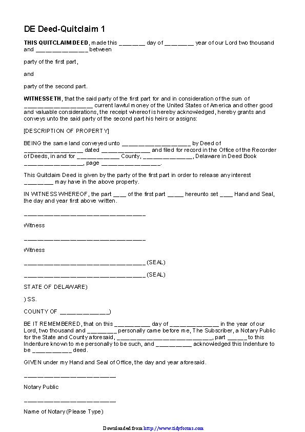 Delaware Quitclaim Deed Form