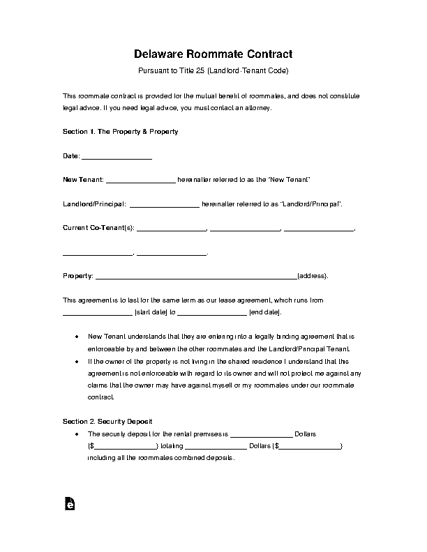Delaware Roommate Rental Agreement