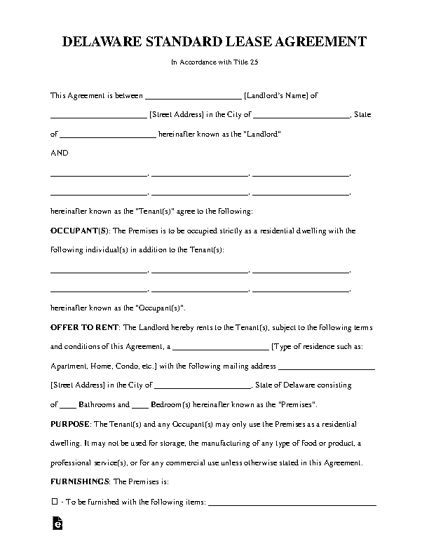 Delaware Standard Lease Agreement Template