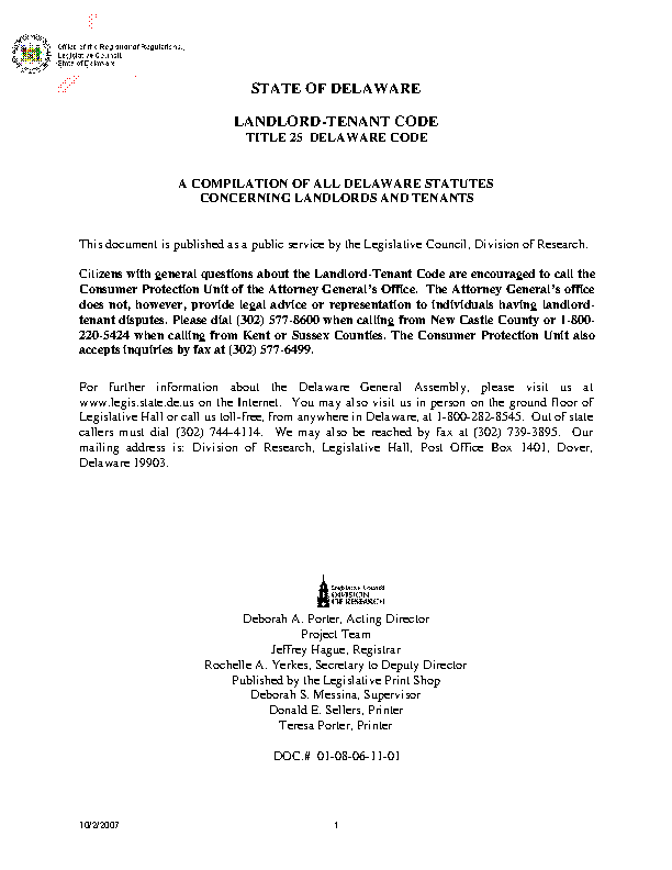 Delaware Title 25 Landlord Tenant Code