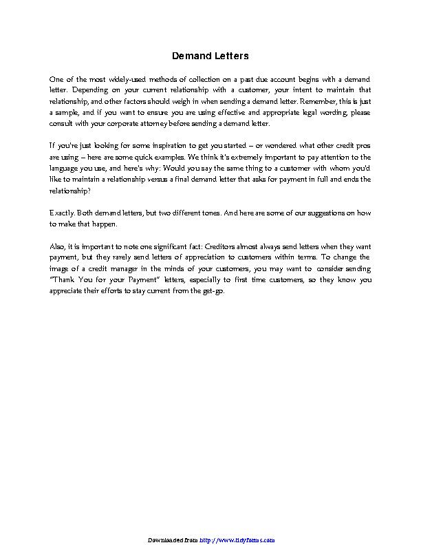 Demand Letter Sample 1