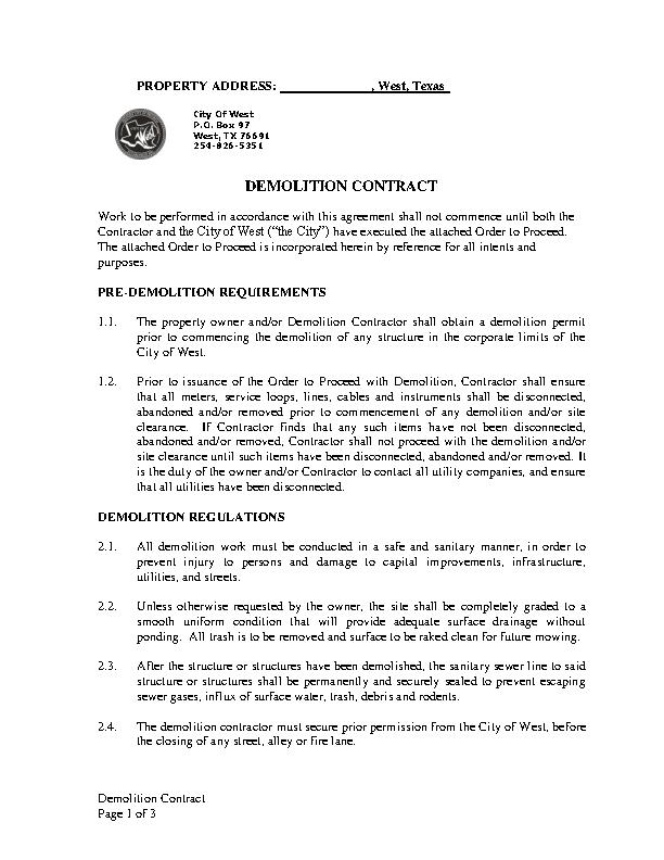 Demolition Contract