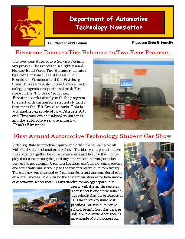 Department Of Automotive Technology Newsletter