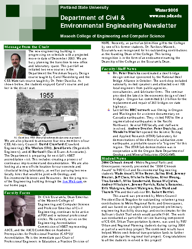 Department Of Civil And Environmental Engineering Newsletter