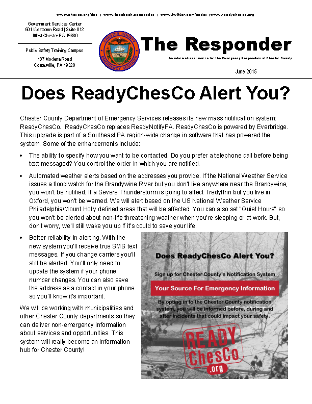 Department Of Emergency Services Newsletter