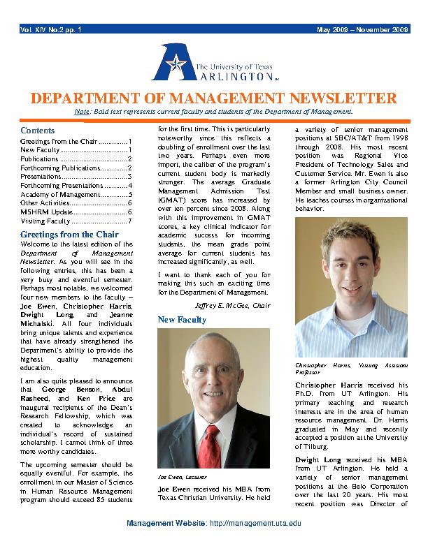 Department Of Management Newsletter