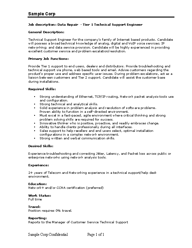 Desktop Support Engineer Resume