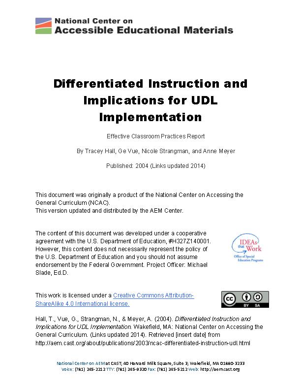 Differentiated Instruction Menu Template