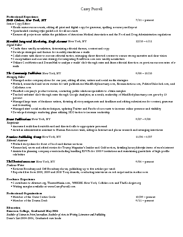 Digital Editor Resume