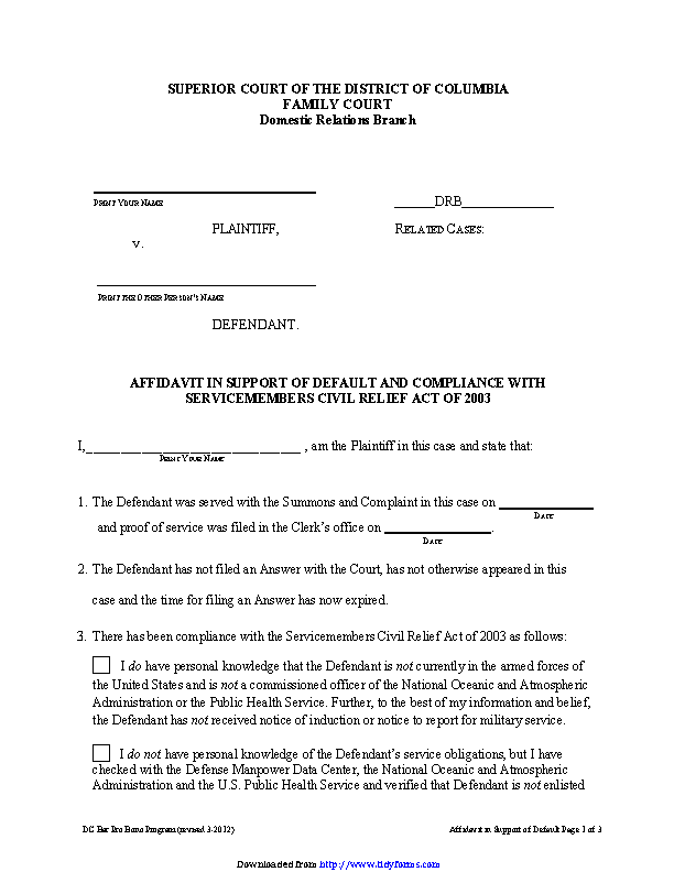 District Of Columbia Affidavit In Support Of Default And Compliance With Servicemembers Civil Relief Act Of 2003 Form