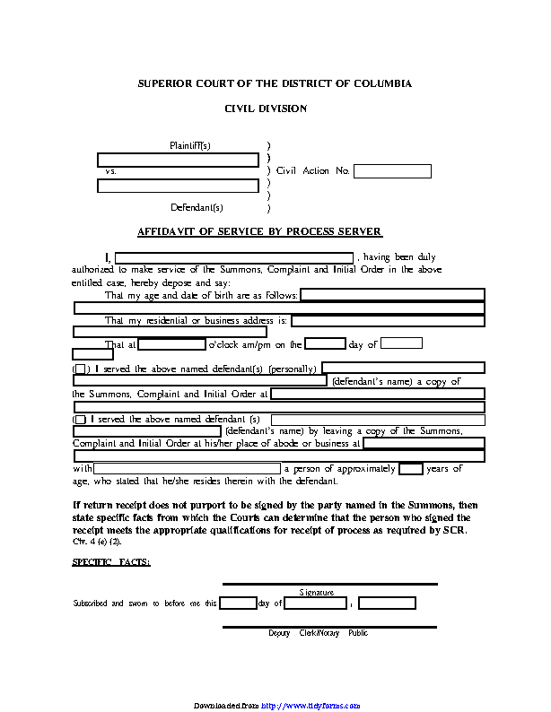 District Of Columbia Affidavit Of Service By Process Server Form