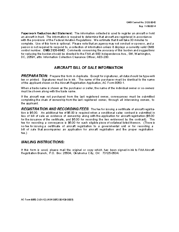District Of Columbia Aircraft Bill Of Sale Form