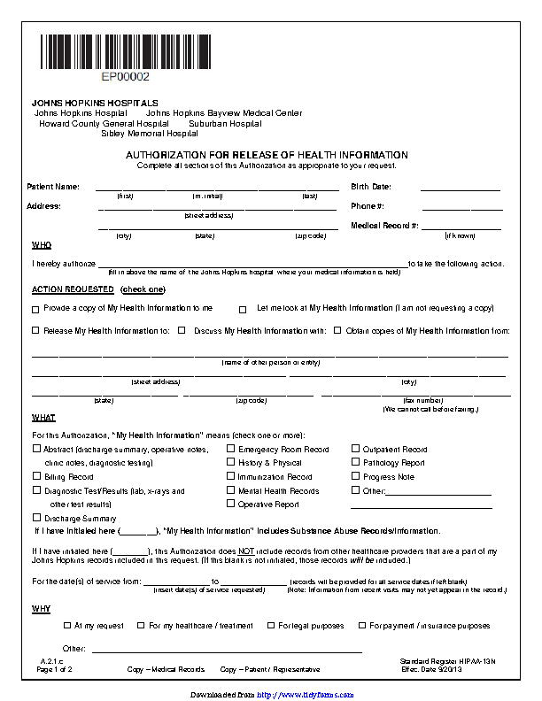 District Of Columbia Authorization For Release Of Health Information Form