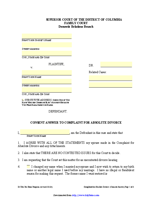 District Of Columbia Consent Answer To Complaint For Absolute Divorce Form