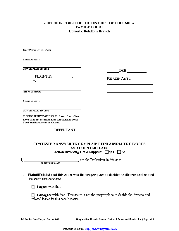 District Of Columbia Contested Answer To Complaint For Absolute Divorce And Counterclaim Form