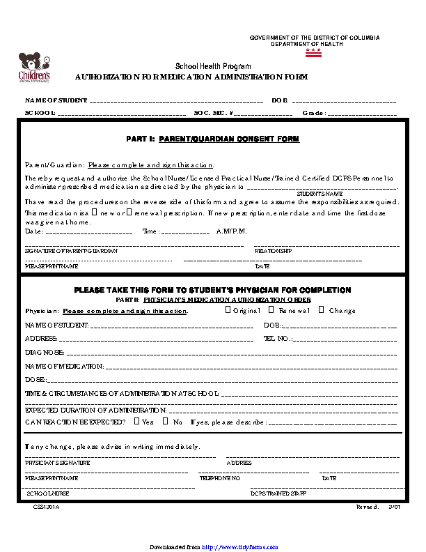 District Of Columbia Medication And Treatment Authorization Form