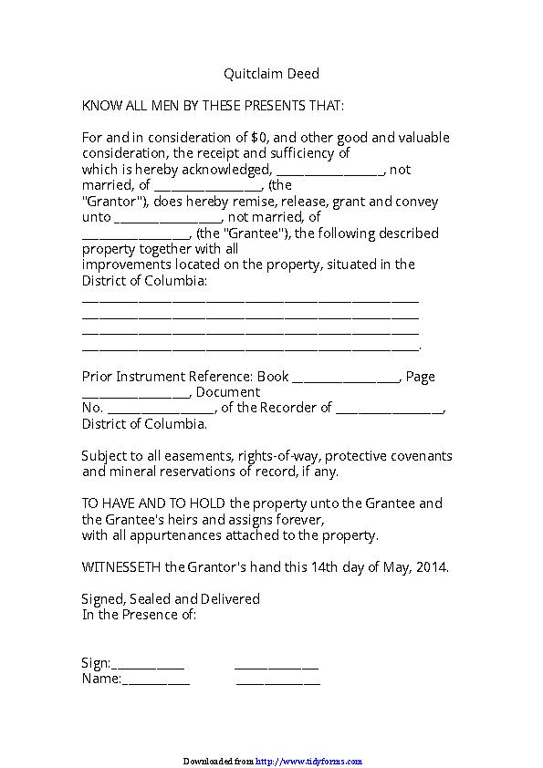 District Of Columbia Quitclaim Deed Form