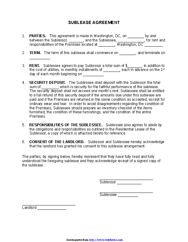 District Of Columbia Sublease Agreement Form