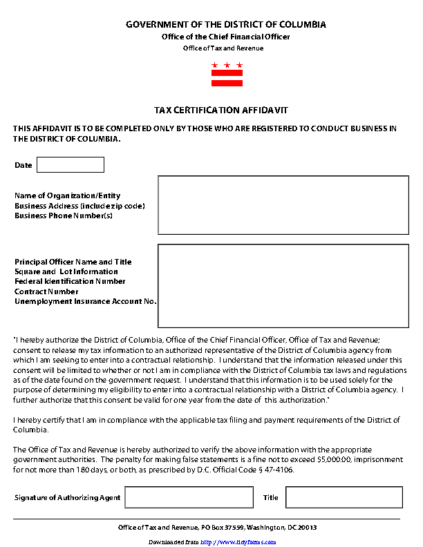 District Of Columbia Tax Certification Affidavit Form