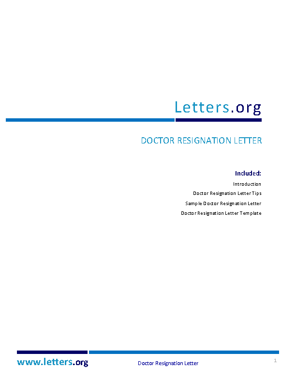 Doctor Resignation Letter Template