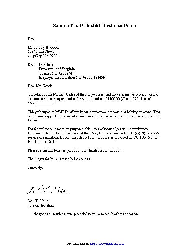 Donation Receipt Letter Template