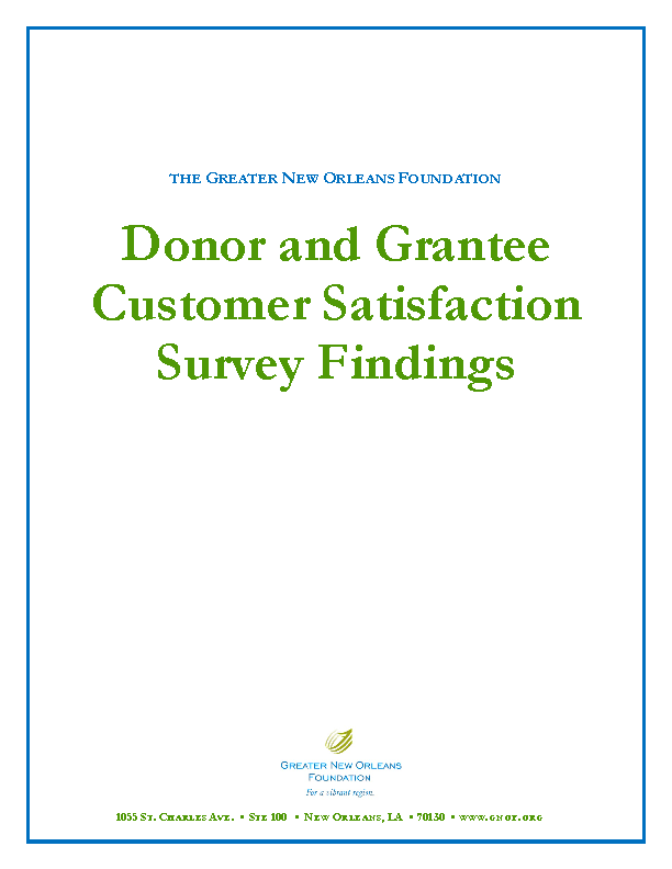 Donor And Grantee Customer Satisfaction Survey Findings
