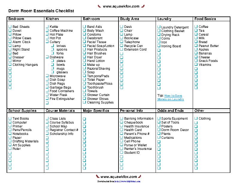 Dorm Room Essentials Checklist
