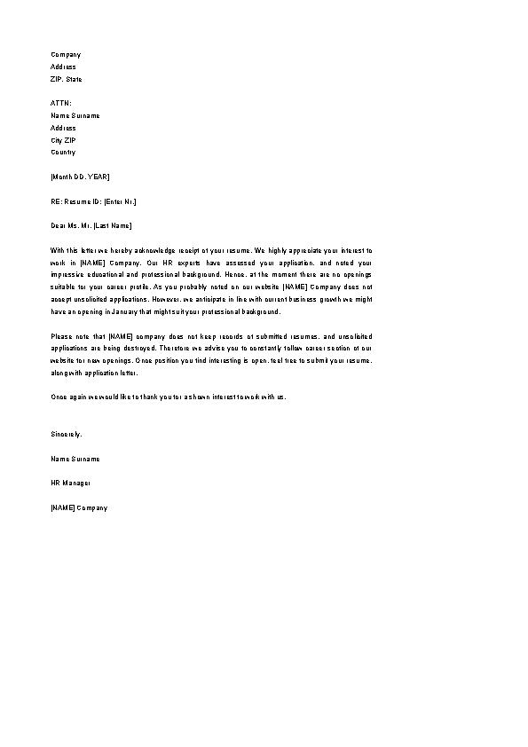 Download Acknowledgement Letter Sample For Receipt Of Resume