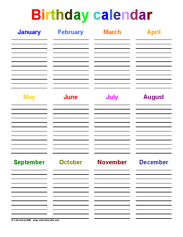 Download Birthday Calendar Template For Free Pdfsimpli