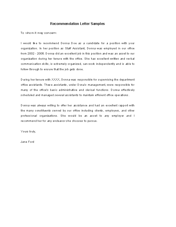download recommendation letter template