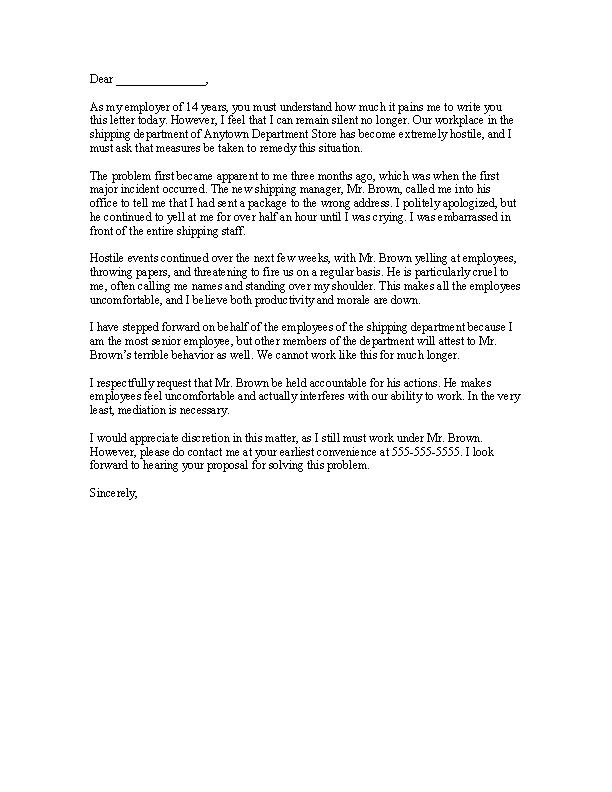 Download Sample Blank Hostile Work Environment Complaint Letter