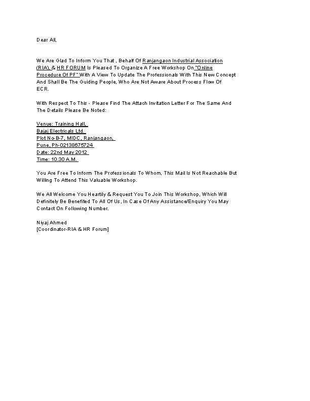 Download Workshop Invitation Letter Template