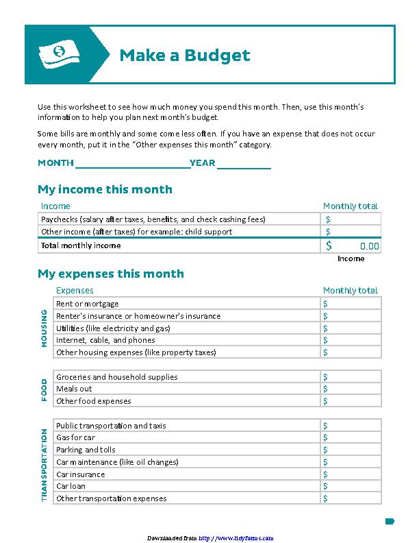 Downloadable Budget Worksheet