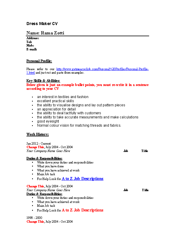 Dress Making Seamstress Resume