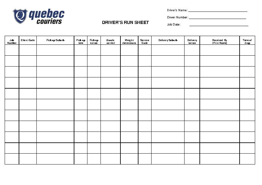 Drivers Run Sheet Template