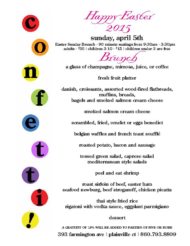 Easter Letter Size Menu