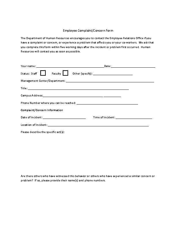 Editable Employee Complaint Form On Hr Pdf Format